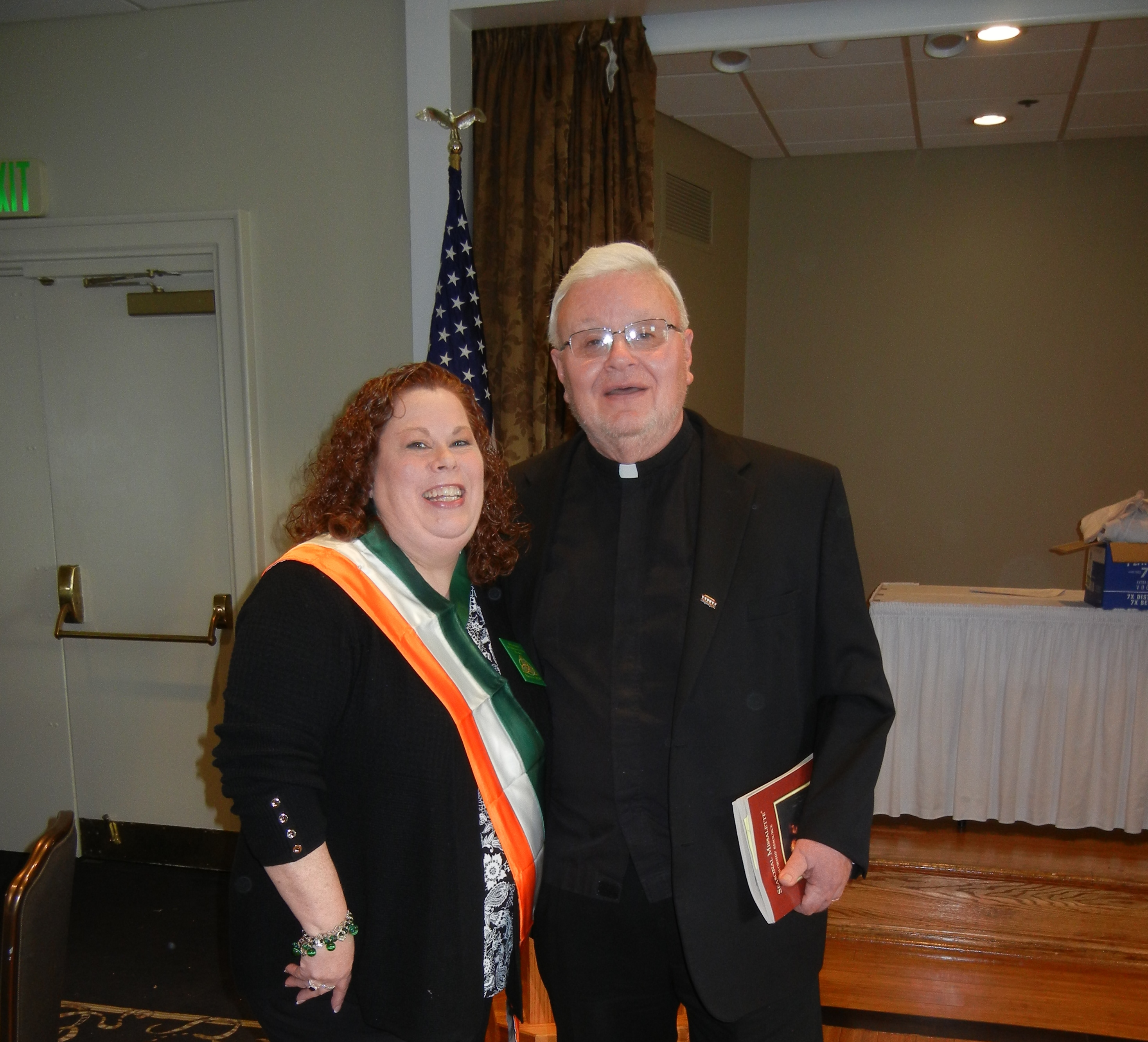 Father Nichols and President Eileen O'Malley